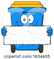 Blue Recycle Bin Mascot Character Holding A Blank Sign by Hit Toon