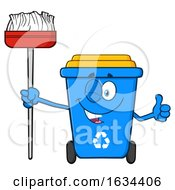 Blue Recycle Bin Mascot Character Winking And Holding A Broom by Hit Toon