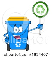 Poster, Art Print Of Blue Recycle Bin Mascot Character Holding An Arrow Sign