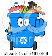 Poster, Art Print Of Blue Angry Recycle Bin Mascot Character Gesturing Stop