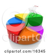 Shopping Cart On Top Of The Highest Piece Of A Colorful Pie Chart Clipart Illustration Graphic