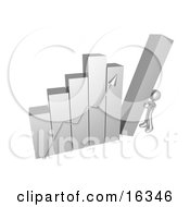 Silver Person Pushing Up The Last Column On A Bar Graph Chart Symbolizing Effort And Success