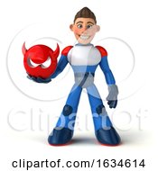 3d White Male Super Hero In A White Blue And Red Suit On A White Background