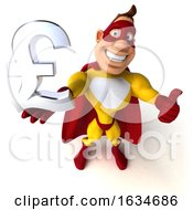 3d Buff White Male Yellow And Red Super Hero On A White Background