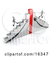 Two Competitive Businessmen Racing Up Different Sides Of A Chrome And Red Bar Graph Chart