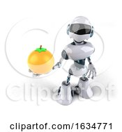 3d Blue And White Robot On A White Background