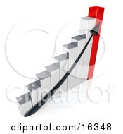 Black Arrow Going Up A Silver And Red Bar Graph Chart Depicting An Increase In Sales Clipart Illustration Graphic by 3poD