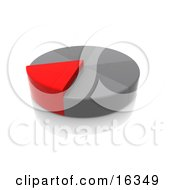 Red Slice Of A Grey Pie Growing Taller Than The Other Pieces Clipart Illustration Graphic