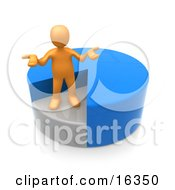 Orange Man Shrugging And Standing In A Sinking Spot Of A Blue Pie Chart Clipart Illustration Graphic