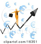 Happy Orange Businessman Carrying A Briefcase And Balancing On An Increasing Black Arrow Of A Graph Through Floating Blue Euro Symbols