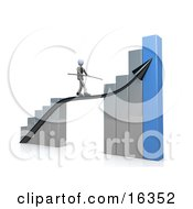 Corporate Businessman Holding A Balance Beam While Walking On An Increase Black Arrow On A Silver And Blue Bar Graph Chart Clipart Illustration Graphic by 3poD