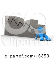 Depressed Blue Person Lying At The Bottom Of A Declining Bar Graph Chart Symbolizing Failure Mistakes And Bankruptcy Clipart Illustration Graphic