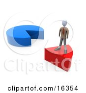 Businessman Standing On A Red Slice Of A Pie Chart Clipart Illustration Graphic