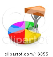 Person Proudly Holding Up Their Share Of A Pie Clipart Illustration Graphic