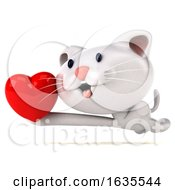 Poster, Art Print Of 3d White Kitten On A White Background