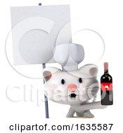 3d White Kitten Chef On A White Background