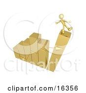 Gold Person Slipping And About To Fall While Standing On Top Of A Bar Graph Chart That Is Collapsing Symbolizing Bankruptcy And Failure
