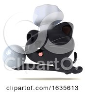 3d Black Kitten Chef On A White Background