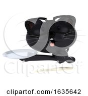 3d Black Kitten On A White Background