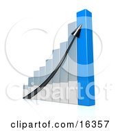 Black Arrow Going Up A Silver And Blue Bar Graph Chart Depicting An Increase In Sales