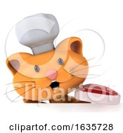 Poster, Art Print Of 3d Ginger Cat Chef On A White Background