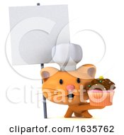 3d Ginger Cat Chef On A White Background