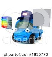 3d Little Blue Car Mechanic On A White Background