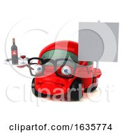 3d Little Red Car Mechanic On A White Background
