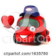 Poster, Art Print Of 3d Little Red Car Mechanic On A White Background