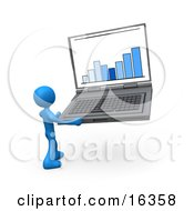Blue Person Holding A Laptop Computer With A Bar Graph On The Screen