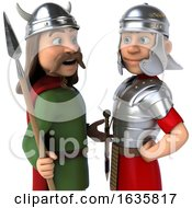 3d Gaul Warrior And Roman Legionary Soldier On A White Background