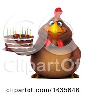Poster, Art Print Of 3d Chubby Brown Chicken Holding A Birthday Cake On A White Background