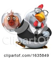 Poster, Art Print Of 3d White Business Chicken Holding A Fish Bowl On A White Background