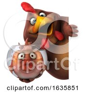 Poster, Art Print Of 3d Brown Chicken Holding A Fish Bowl On A White Background
