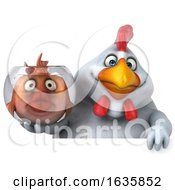 3d White Chicken Holding A Fish Bowl On A White Background