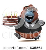3d Business Orangutan Monkey Holding A Birthday Cake On A White Background by Julos