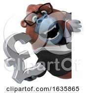 3d Business Orangutan Monkey Holding A Lira On A White Background by Julos