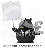 3d Chubby Black Business Horse Holding A Lira On A White Background