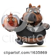 3d Chubby Brown Business Horse Holding A Fish Bowl On A White Background