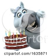 3d Chubby White Horse Holding A Birthday Cake On A White Background