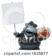3d Business Gorilla Holding A Fish Bowl On A White Background by Julos