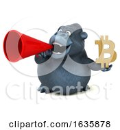 3d Gorilla Holding A Bitcoin Symbol On A White Background by Julos