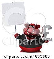 3d Red Business Bull Holding A Pound Currency Symbol On A White Background