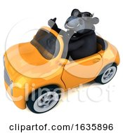 3d Black Bull Driving A Convertible On A White Background by Julos