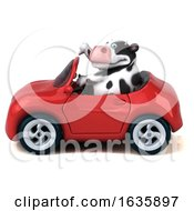 3d Holstein Cow Driving A Convertible On A White Background