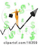 Happy Orange Businessman Carrying A Briefcase And Balancing On An Increasing Black Arrow Of A Graph Through Floating Green Dollar Symbols