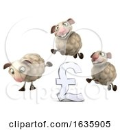 3d Group Of Sheep Jumping Over A Pound Currency Symbol On A White Background