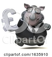 3d Business Rhinoceros Holding A Lira On A White Background
