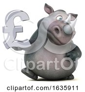 3d Rhinoceros Holding A Lira On A White Background