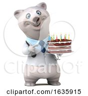 Poster, Art Print Of 3d Doctor Polar Bear Holding A Birthday Cake On A White Background
